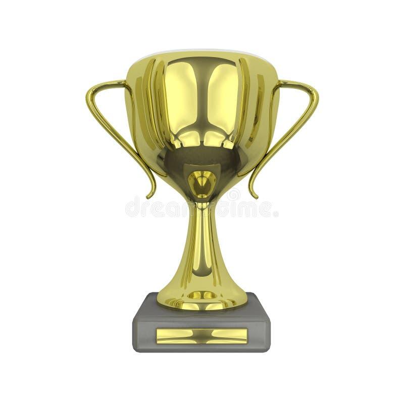 3D ha reso la tazza isolata del trofeo dell'oro immagini stock