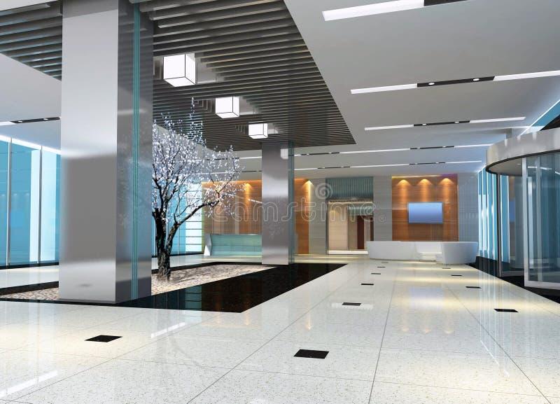 3d hall moderne, couloir illustration stock