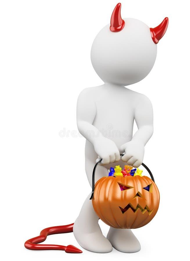 3D Halloween Weißleute. Kind mit einem Kürbis vektor abbildung