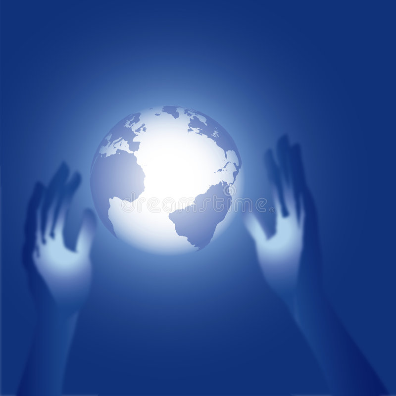 3D Hands Reach For Blue Earth Glow Illustration Royalty Free Stock Photo