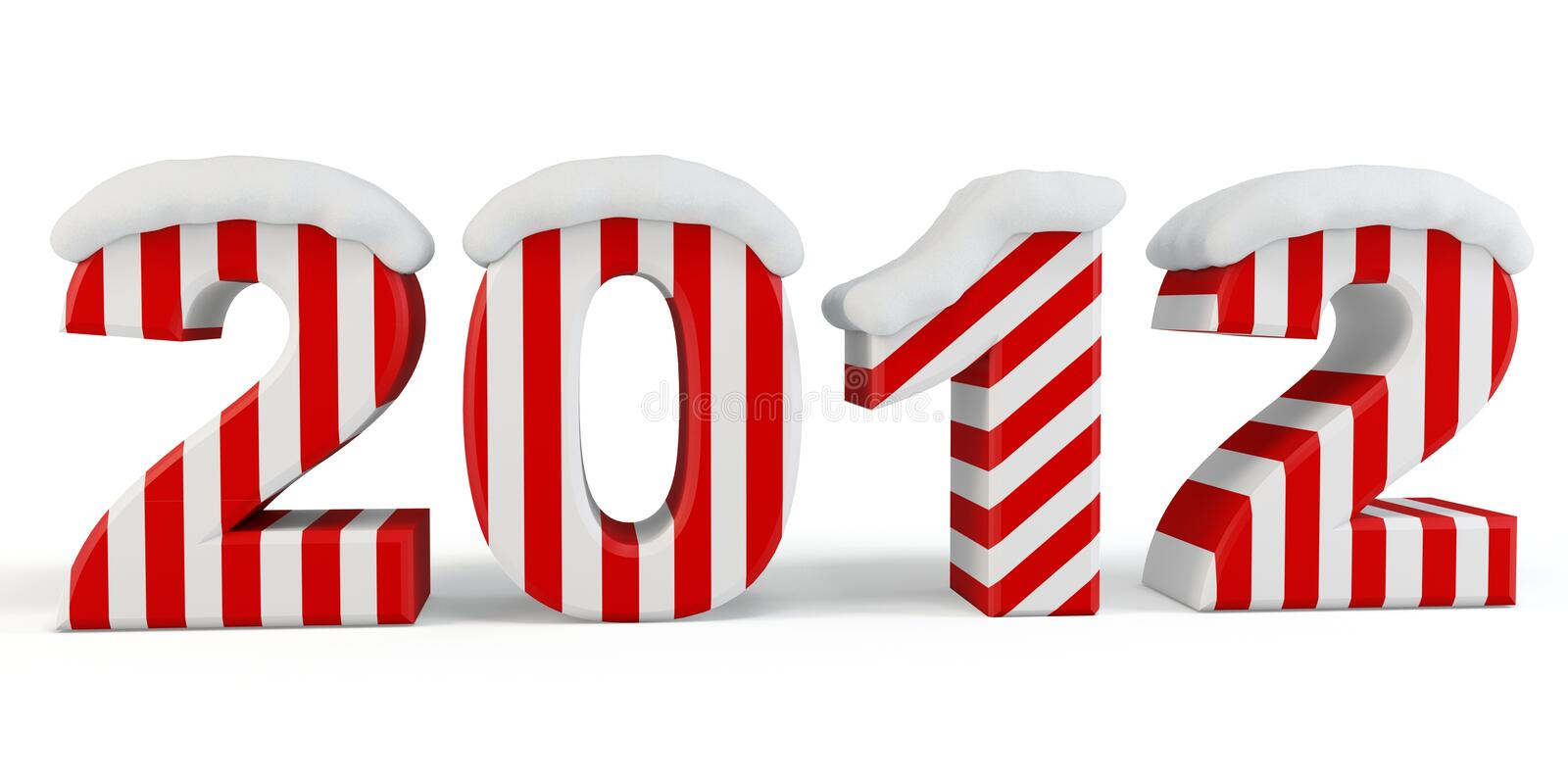 Download 3d Happy New Year 2012 With Snow Stock Illustration - Image: 21142914