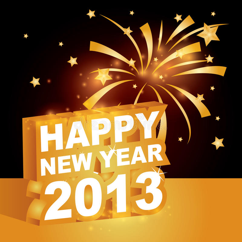 3D , Happy new year 2013 stock illustration