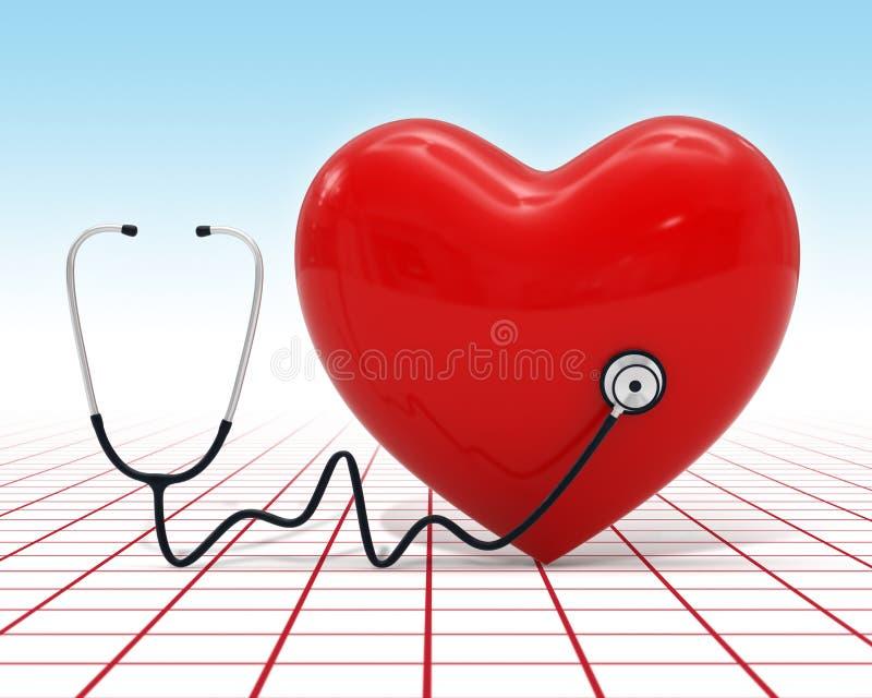 3d hartalgemeen medisch onderzoek met stethoscoop stock illustratie