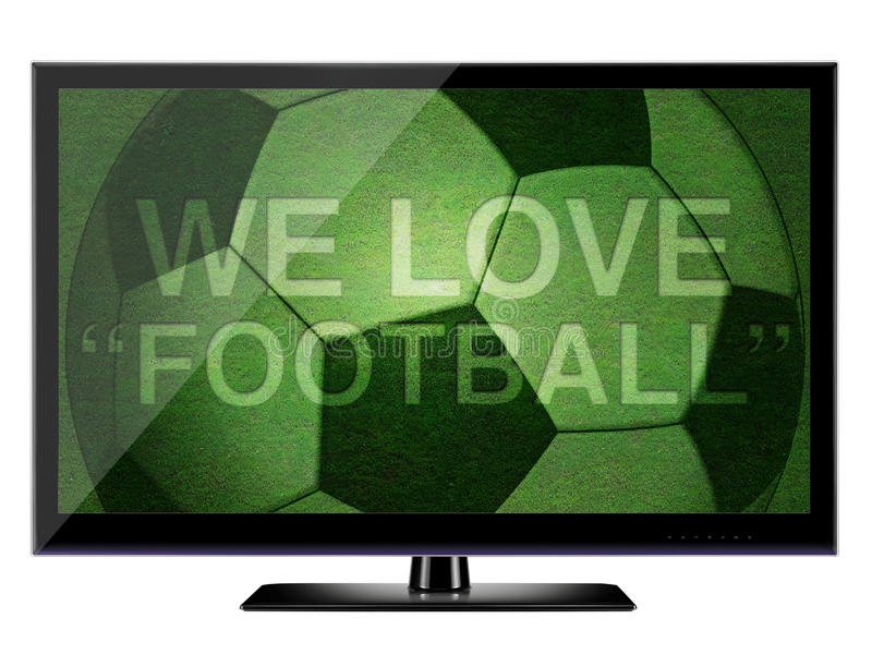 3D HDTV we love football. HDTV and Soccer field have text on grass We love football vector illustration