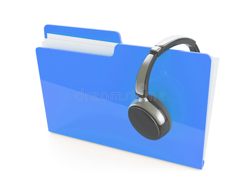 Download 3d Headphones And Folder Stock Photo - Image: 11023870