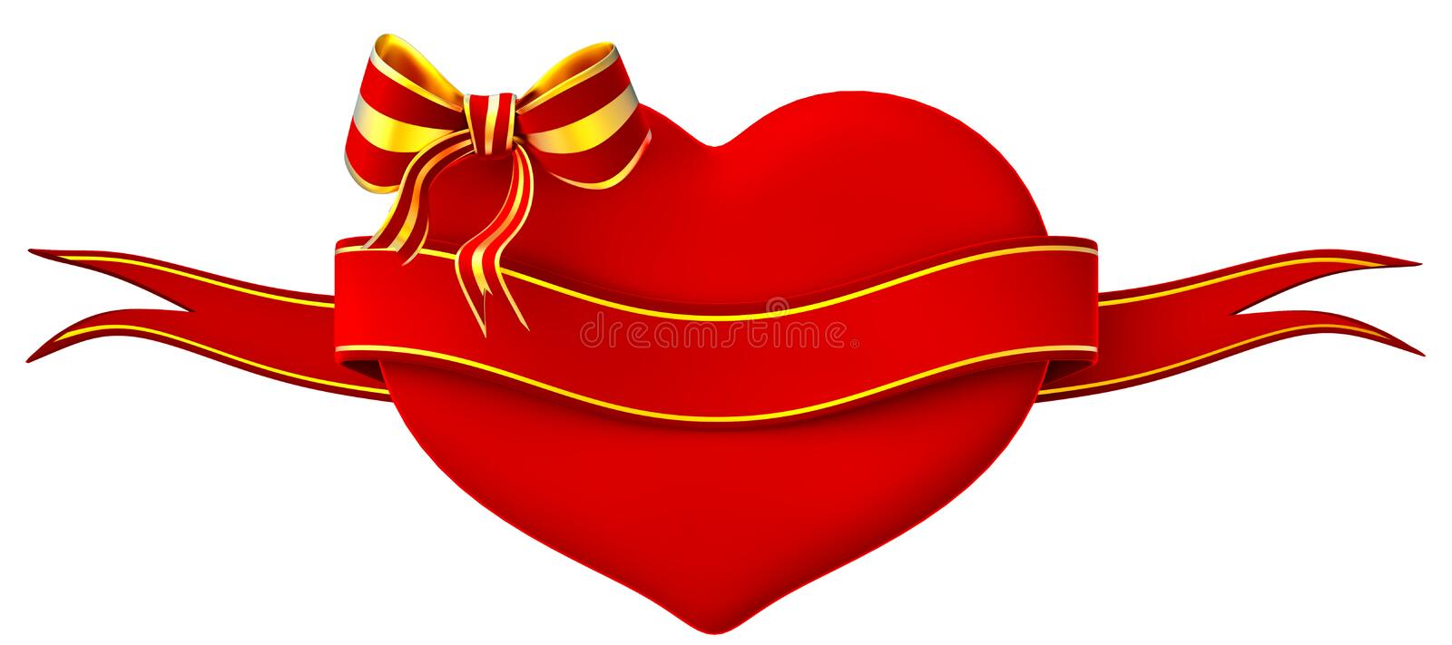 3D Heart With Bow And Ribbon Royalty Free Stock Photo