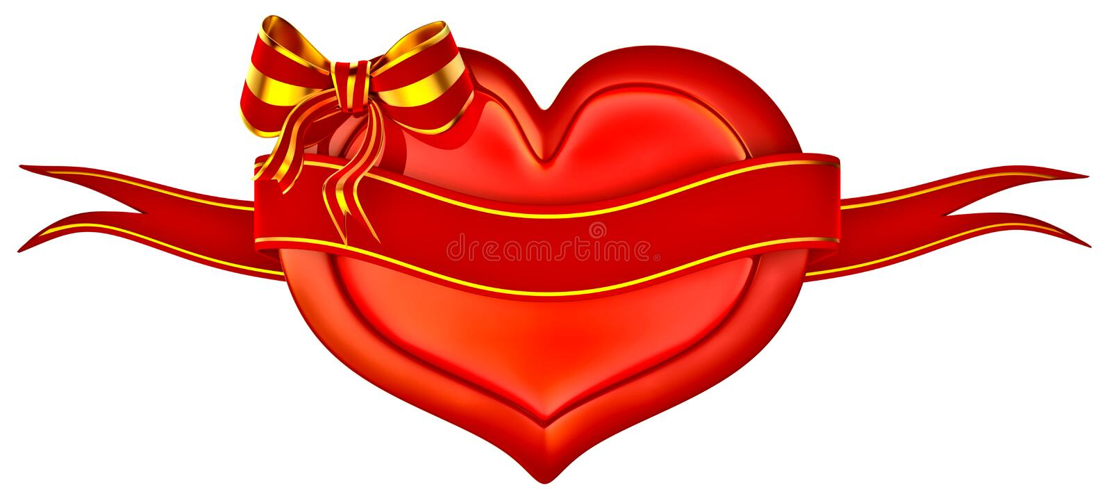 3D Heart With Bow And Ribbon Royalty Free Stock Photography