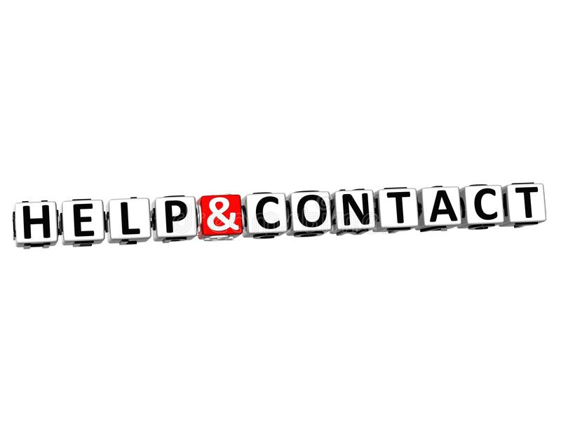 3D Help And Contact Button Click Here Block Text Royalty Free Stock Images