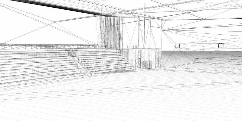 3D het teruggeven draad-kader sporthal. royalty-vrije illustratie