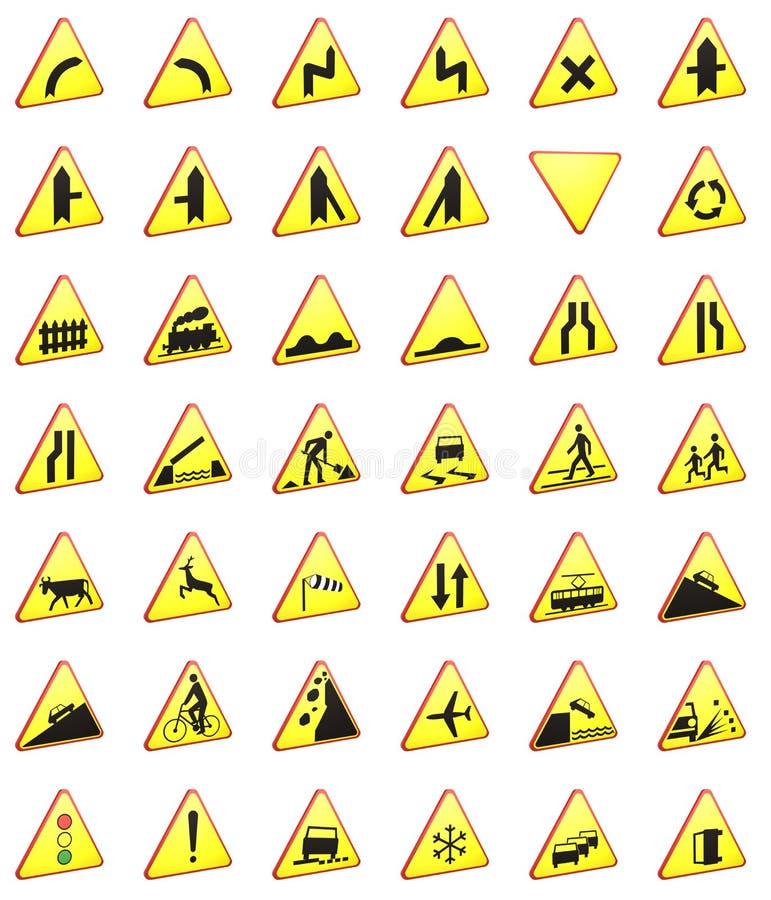 3d het teruggeven van verkeersteken pak (waarschuwingsseinen) royalty-vrije illustratie