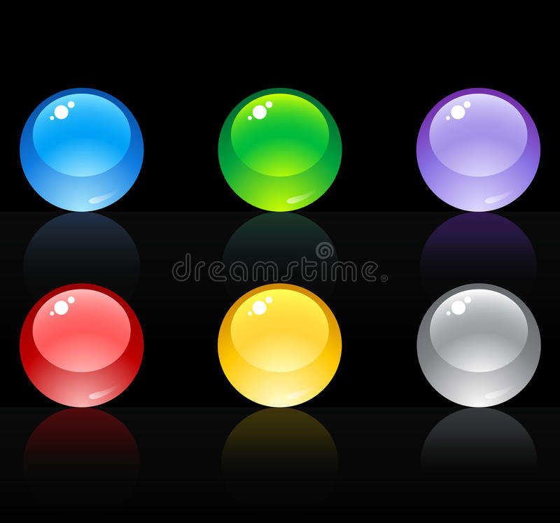 3D high quality sphere glass set. 3-Dimensional High Quality Sphere Glass Set With Various Colors stock illustration