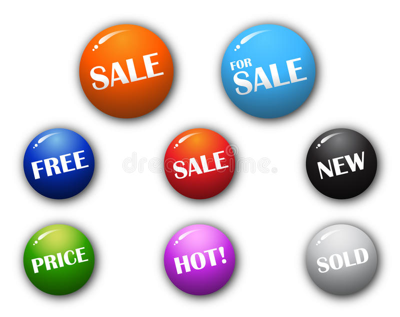 3D high quality sphere sale signs. 3-Dimensional High Quality Sphere Button Sale Signs stock illustration