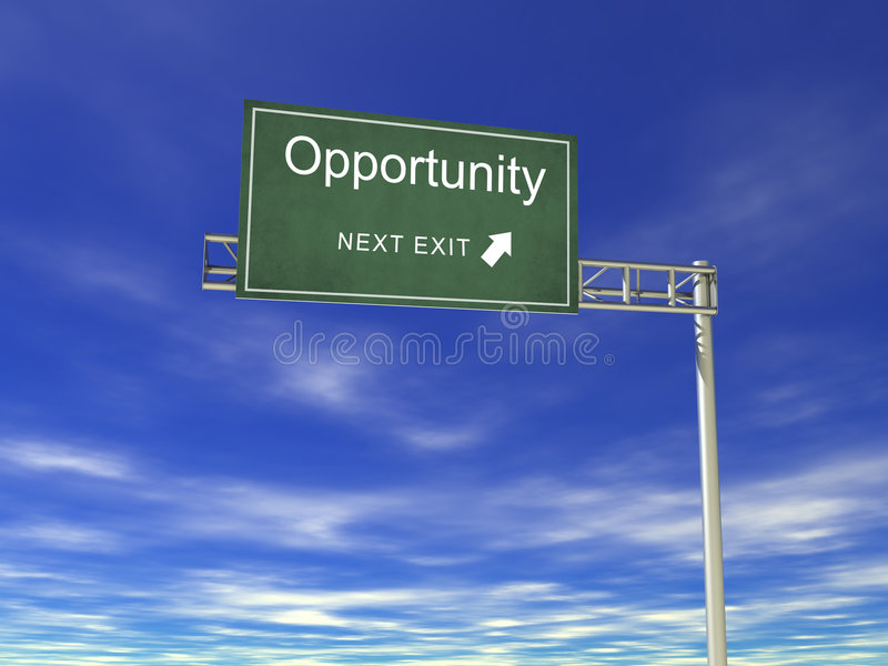 3D Hightway Billboard: Opportunity. 3D render Hightway Billboard: Opportunity stock illustration