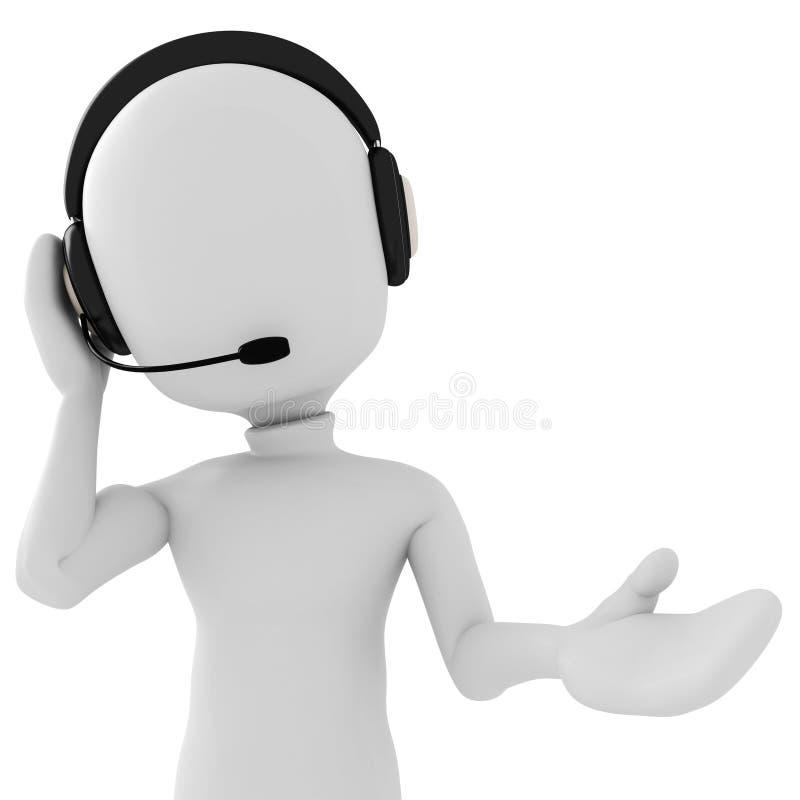 3d hombre - centro de atención telefónica libre illustration