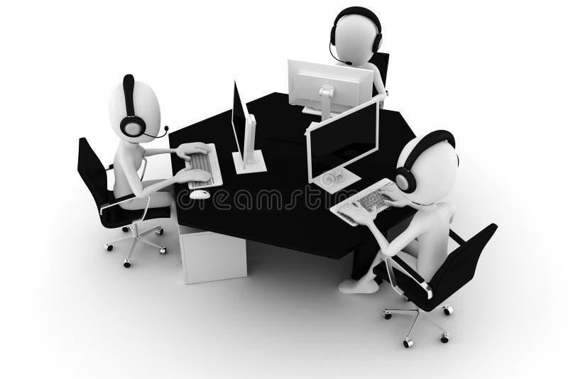3d hombre, centro de atención telefónica, aislado en blanco ilustración del vector