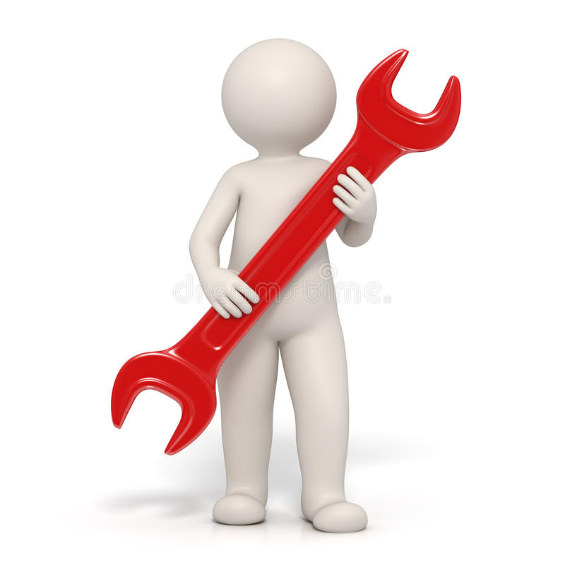 3d hombre - símbolo del servicio - llave inglesa roja libre illustration