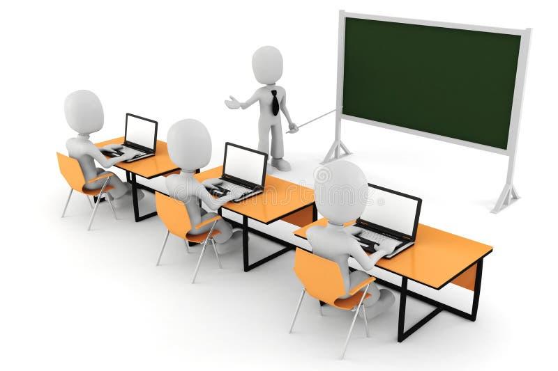 3d hombre - sala de clase ilustración del vector