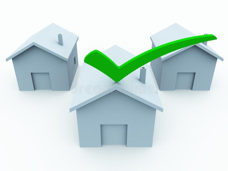 3d home checkmark. Houses with one home bearing a check mark showing choice in housing, insurance or mortgage vector illustration