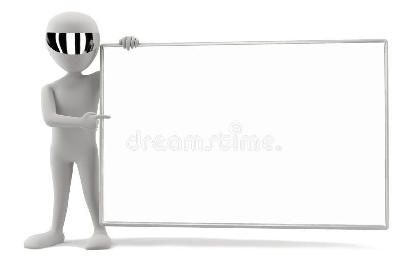 3d homens pequenos - sua placa vazia! ilustração stock