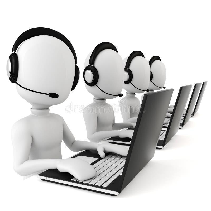 3d homme - centre d'attention téléphonique illustration de vecteur