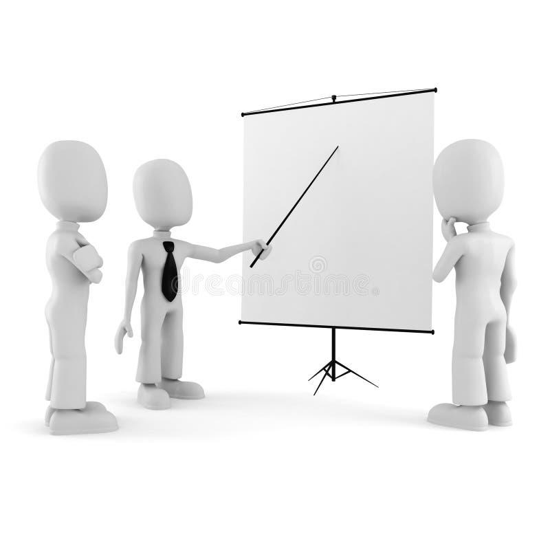 3d homme, conférence restant près d'un panneau blanc illustration libre de droits