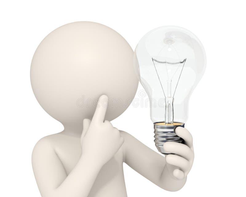 3d homme - idée d'ampoule illustration de vecteur
