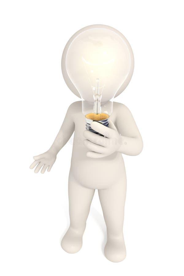 3d homme - solution d'ampoule illustration de vecteur