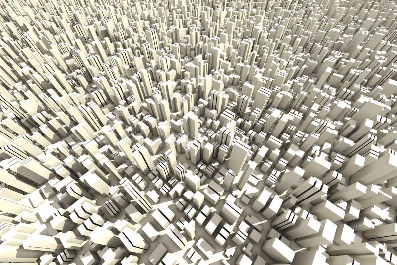 3d horizon van een menigtestad - luchtmening royalty-vrije illustratie