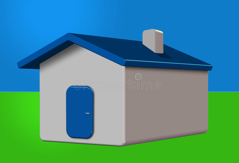 3D house. Simple 3D house with chimney stock illustration