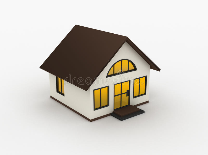3d house. 3d schematic house on white background