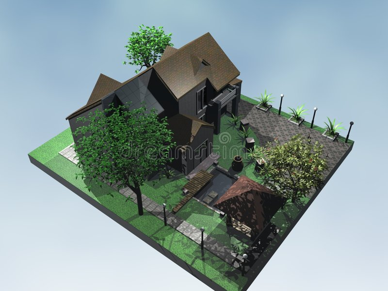 Download 3D house stock illustration. Image of perspective, home - 8019335