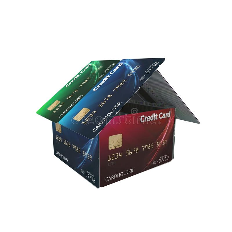 3d house of credit cards stock illustration