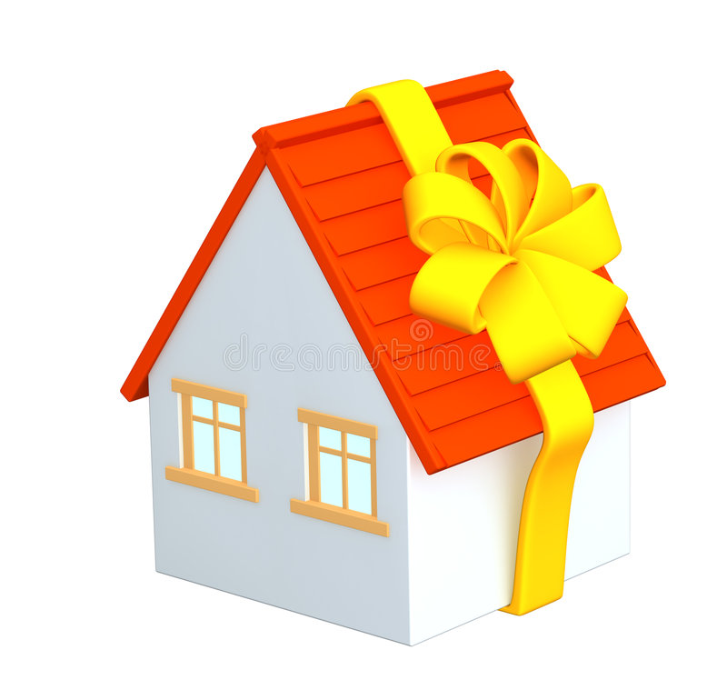 Download 3d House - Gift, Wrapping A Tape Stock Image - Image: 4779491