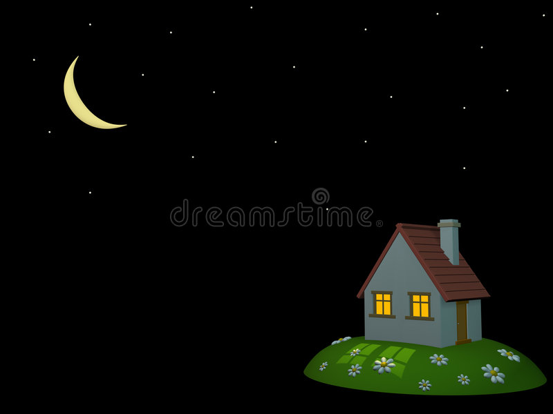 3d house on a hill. Night sky