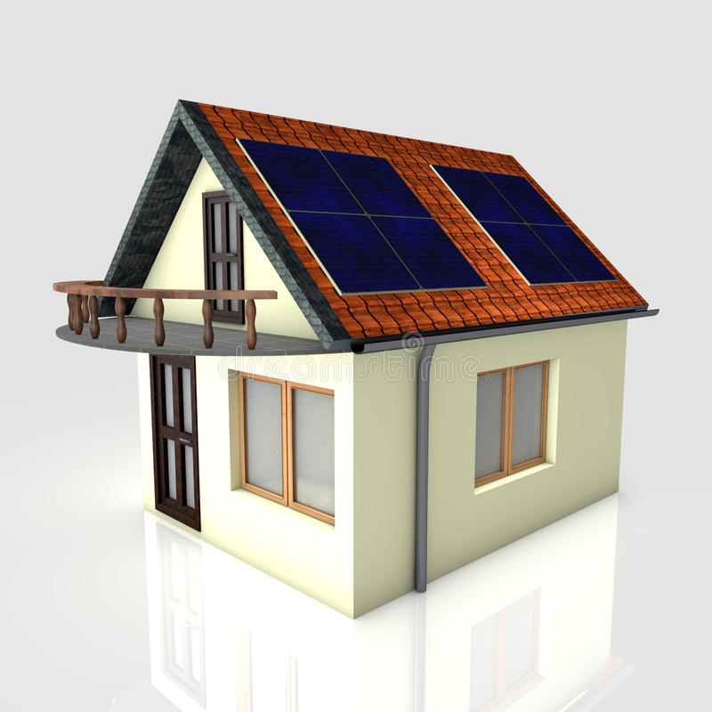 Download 3D house with solar panels stock illustration. Illustration of generator - 19001716