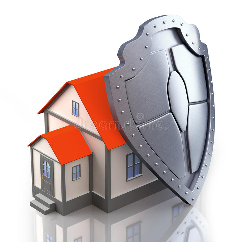 3d House under protection stock illustration