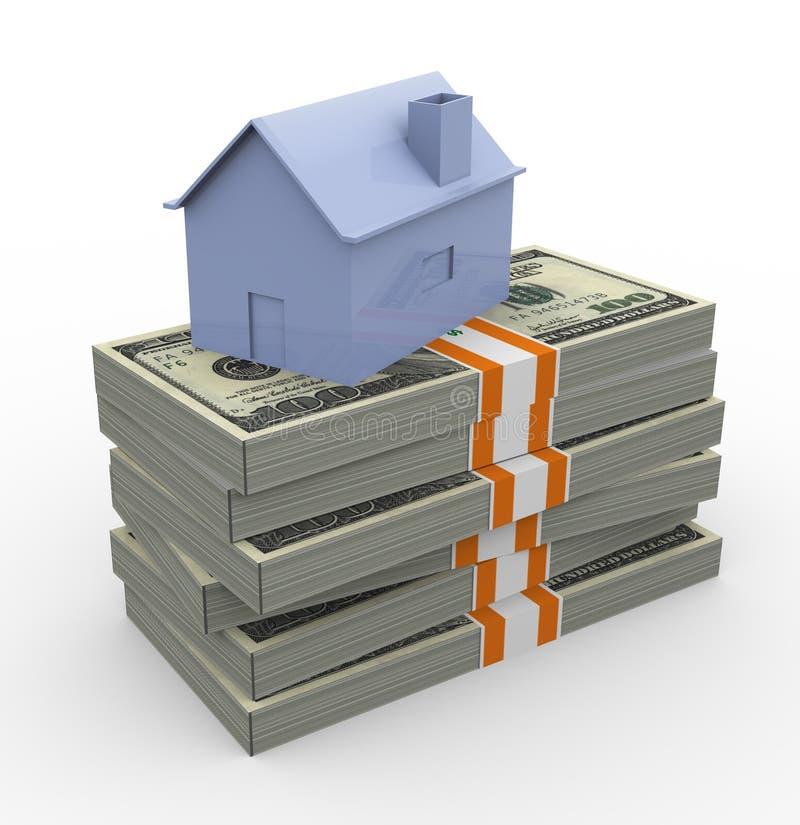 3d huis en dollarrekeningen royalty-vrije illustratie