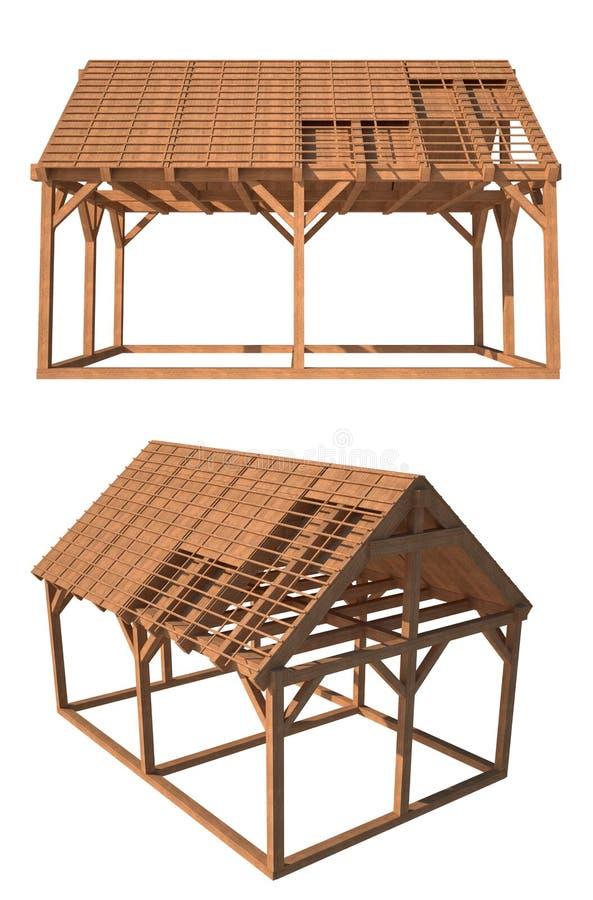 3d huis houten structuur die op wit wordt geïsoleerdo stock illustratie