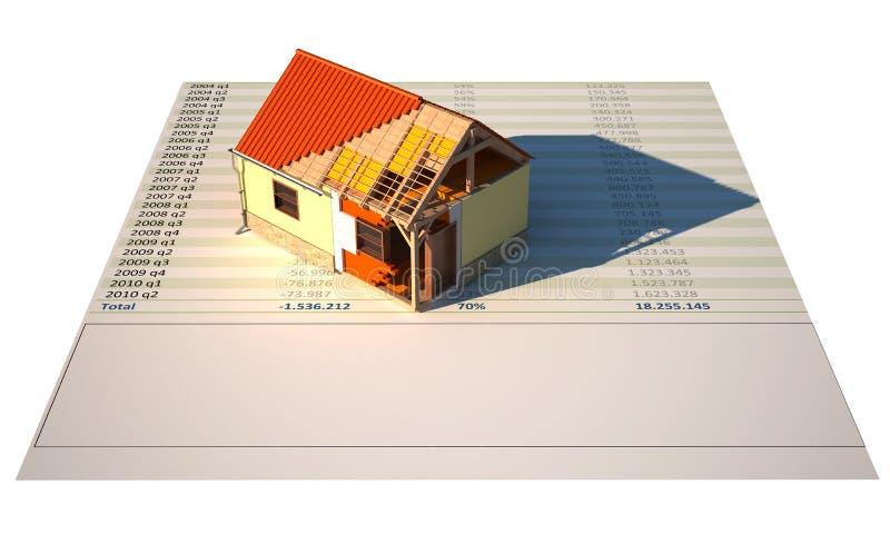 3d huis insolated in aanbouw op wit stock illustratie