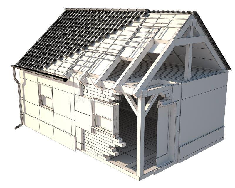 3d huis layerd, klei geeft en isoleerde op wit terug vector illustratie