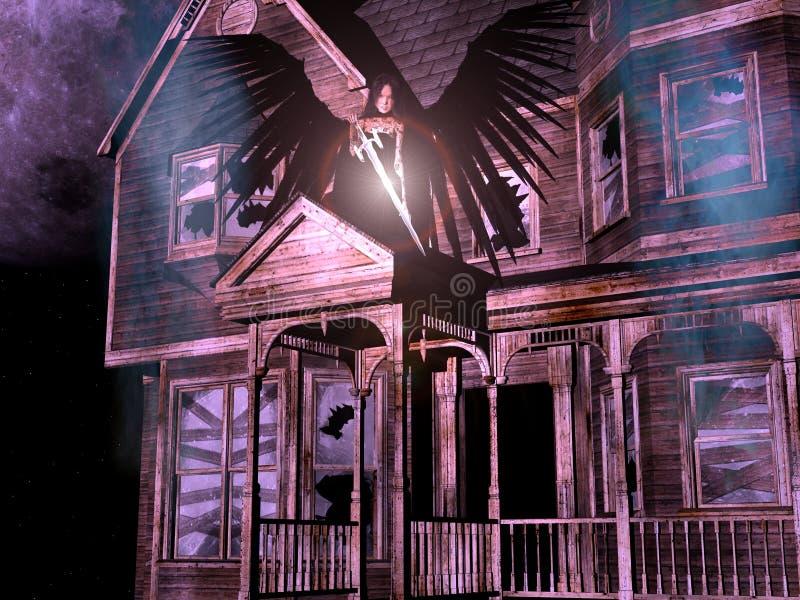 3D huis met engel. royalty-vrije illustratie