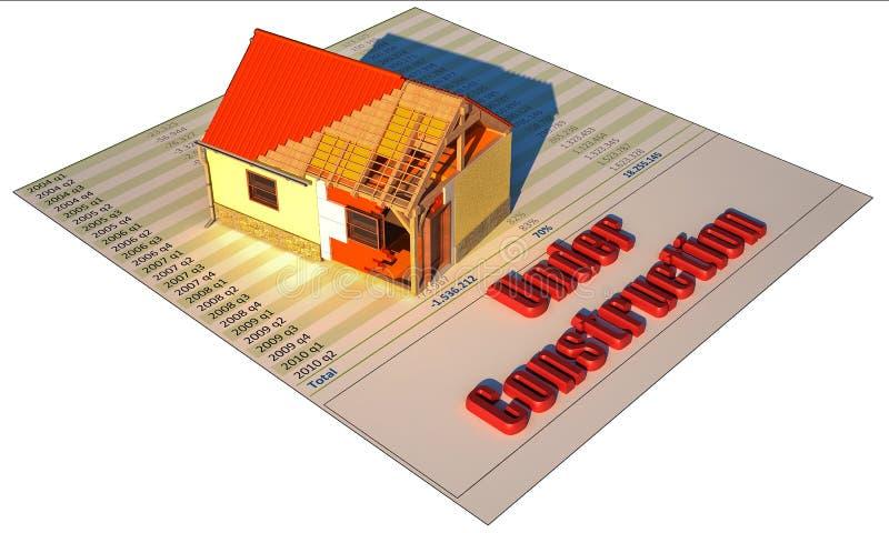 3D huis op financiële printout in aanbouw royalty-vrije illustratie