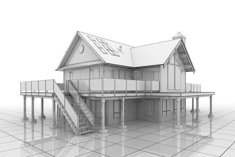 3D Huis van de Blauwdruk royalty-vrije illustratie