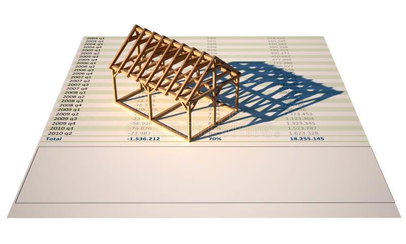 3d huisstructuur insolated in aanbouw royalty-vrije illustratie