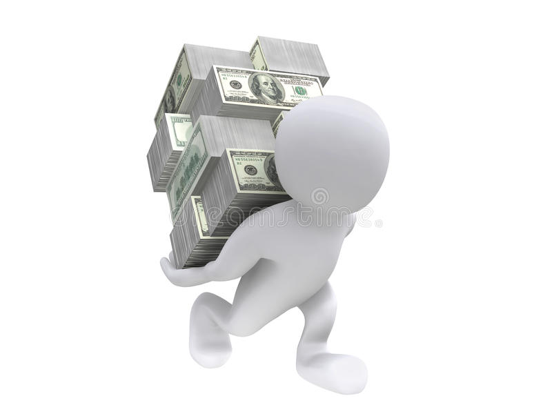3D Human carrying money on back. 3D Human carry a bundle of USD bill on his back vector illustration