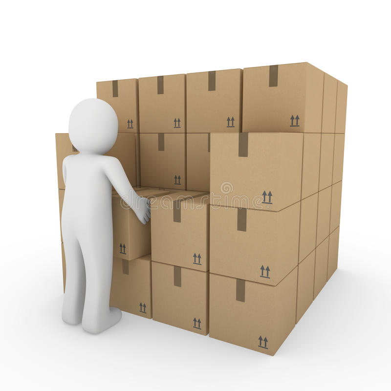 Download 3d Human Carton Package Shipping Stock Illustration - Image: 18240587