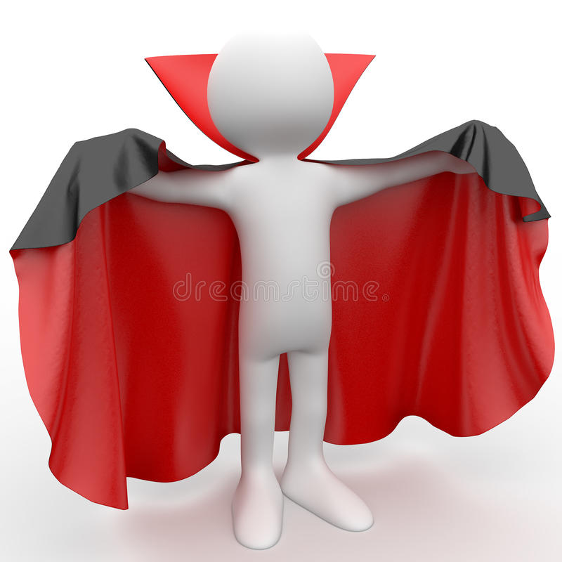 3D human dressed in a red cape and black stock illustration