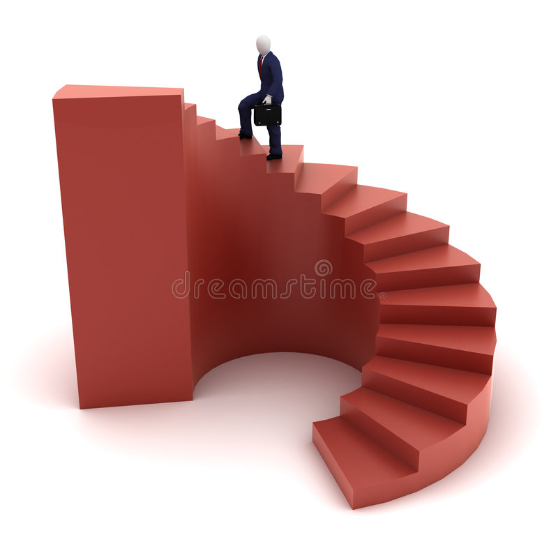 3d human going to success. 3d human model going to success on red spiral stairs royalty free illustration