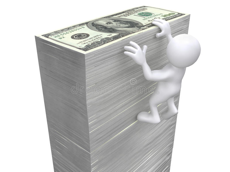 3D Human hanging on money wall. 3D Human hanged on USD bill wall royalty free illustration