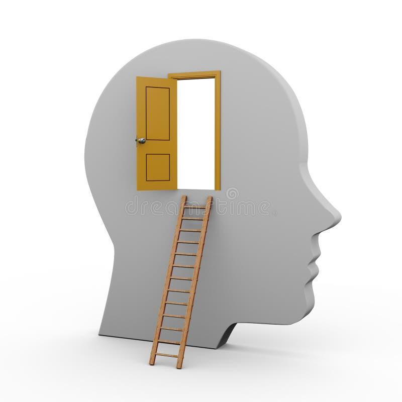 3d human head and open door stock illustration